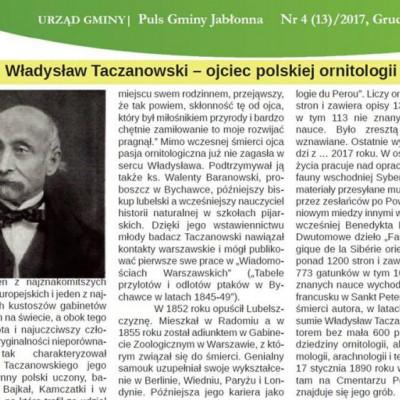 """O Władysławie Taczanowskim w """"Pulsie Gminy Jabłonna"""""""