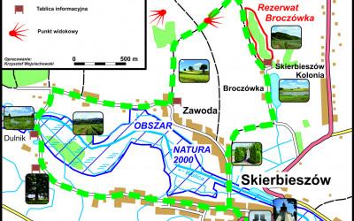 Mapa ścieżki edukacyjno-spacerowej Skierbieszów-Dulnik-Zawoda-Broczówka
