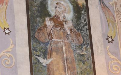 Polichromia przedstawiająca św. Franciszka w krzczonowskiej świątyni