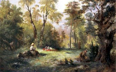 Grzybobranie, obraz Franciszka Kostrzewskiego z 1860 r.