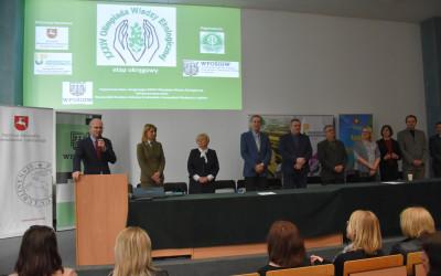 Członek Zarządu Województwa Lubelskiego Pan Sebastian Trojak podczas przemówienia  do uczestników olimpiady i zaproszonych gości