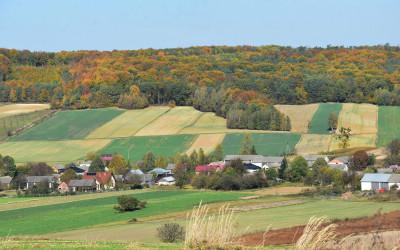 Wieś Kryniczki widok od strony południowej