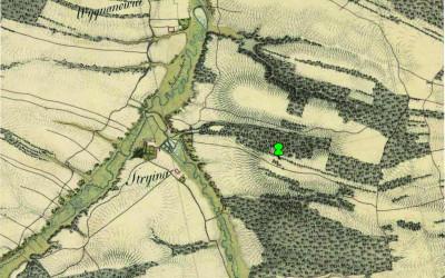 Orientacyjna lokalizacja pomnikowego dębu na mapie Galicji Zachodniej z pocz. XIX w.
