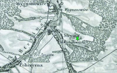Orientacyjna lokalizacja pomnikowego dębu na Topograficznej Mapie Królestwa Polskiego z lat 40. XIX w.